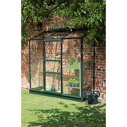 Image for Eden Wall Garden 26 Aluminium Greenhouse with Horticultural Glass & Base - Green from StoreName