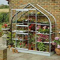 Eden Supreme Wall Garden 26 Greenhouse with Toughened Glass - Silver