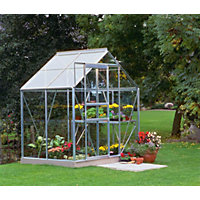 Eden Aluminium Popular Silver Greenhouse with Toughened Glass & Base - 4x6ft