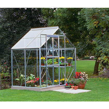 Image for Eden Aluminium Popular Silver Greenhouse with Toughened Glass & Base - 4x6ft from StoreName