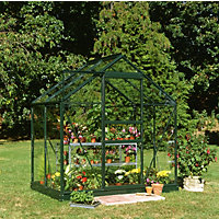 Eden Aluminium Popular Green Greenhouse with Horticultural Glass & Base - 4x6ft
