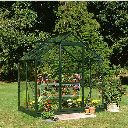 Image for Eden Aluminium Popular Green Greenhouse with Horticultural Glass & Base - 4x6ft from StoreName