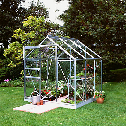 Image for Eden Aluminium Popular Silver Greenhouse with Horticultural Glass & Base - 6x6ft from StoreName