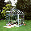 Eden Aluminium Popular Silver Greenhouse with Toughened Glass & Base - 6x6ft