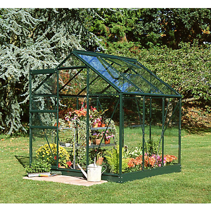 Image for Eden Aluminium Popular Green Greenhouse with Horticultural Glass & Base - 6x6ft from StoreName
