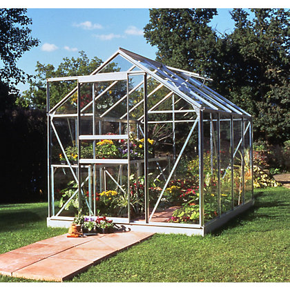Image for Eden Aluminium Popular Silver Greenhouse with Horticultural Glass & Base - 8x6ft from StoreName