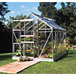Eden Aluminium Popular Silver Greenhouse with Toughened Glass & Base - 8x6ft