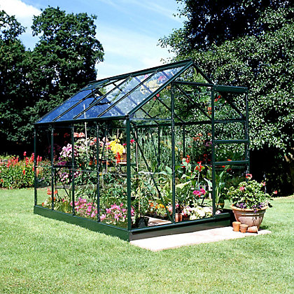 Image for Eden Aluminium Popular Green Greenhouse with Toughened Glass & Base - 8x6ft from StoreName
