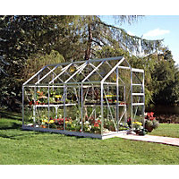 Eden Aluminium Popular Silver Greenhouse with Horticultural Glass & Base - 10x6ft