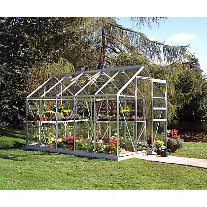 Image for Eden Aluminium Popular Silver Greenhouse with Toughened Glass & Base - 10x6ft from StoreName