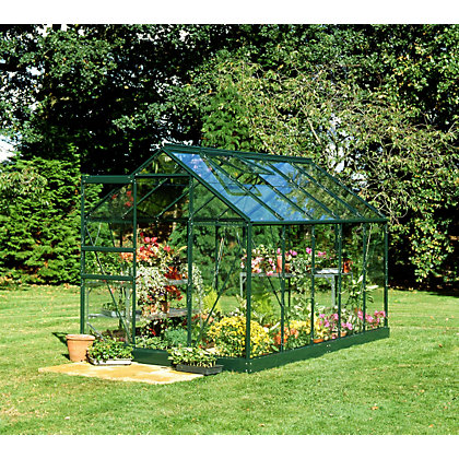 Image for Eden Aluminium Popular Green Greenhouse with Horticultural Glass & Base - 10x6ft from StoreName