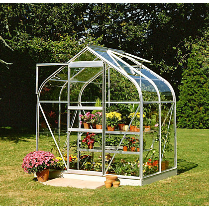 Image for Eden Aluminium Supreme Silver Greenhouse with Toughened Glass & Base - 4x6ft from StoreName