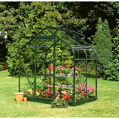 Image for Eden Aluminium Supreme Green Greenhouse with Horticultural Glass & Base - 4x6ft from StoreName
