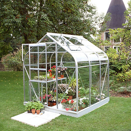 Image for Eden Aluminium Supreme Silver Greenhouse with Toughened Glass & Base - 6x6ft from StoreName