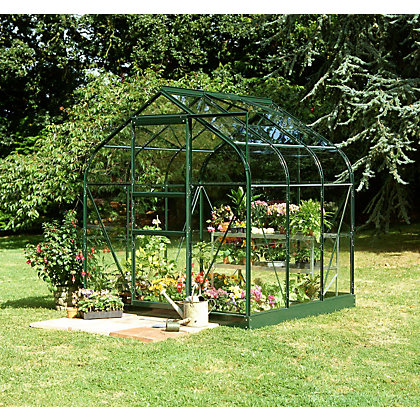 Image for Eden Aluminium Supreme Green Greenhouse with Horticultural Glass & Base - 6x6ft from StoreName