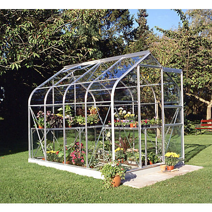Image for Eden Aluminium Supreme Silver Greenhouse with Toughened Glass & Base - 8x6ft from StoreName