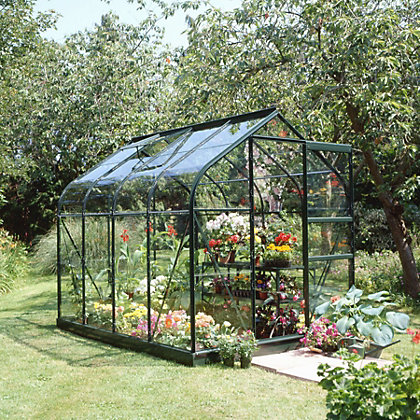 Image for Eden Aluminium Supreme Green Greenhouse with Toughened Glass & Base - 8x6ft from StoreName