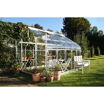 Image for Eden Aluminium Supreme Silver Greenhouse with Toughened Glass & Base - 10x6ft from StoreName
