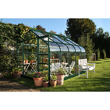 Image for Eden Aluminium Supreme Green Greenhouse with Horticultural Glass & Base - 10x8ft from StoreName
