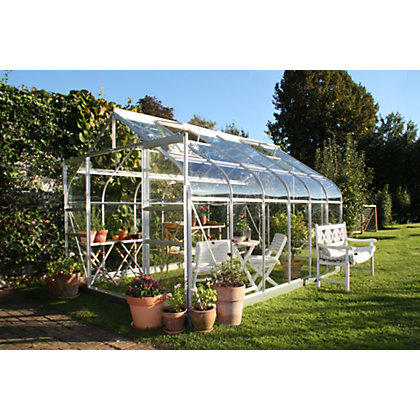 Image for Eden Aluminium Supreme Silver Greenhouse with Horticultural Glass & Base - 12x8ft from StoreName