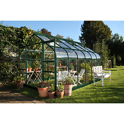 Image for Eden Aluminium Supreme Green Greenhouse with Toughened Glass & Base - 12x8ft from StoreName