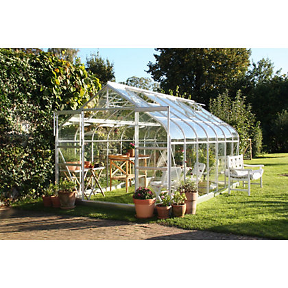 Image for Eden Aluminium Supreme Silver Greenhouse with Horticultural Glass & Base - 14x8ft from StoreName