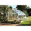 Eden Aluminium Supreme Silver Greenhouse with Toughened Glass & Base - 14x8ft