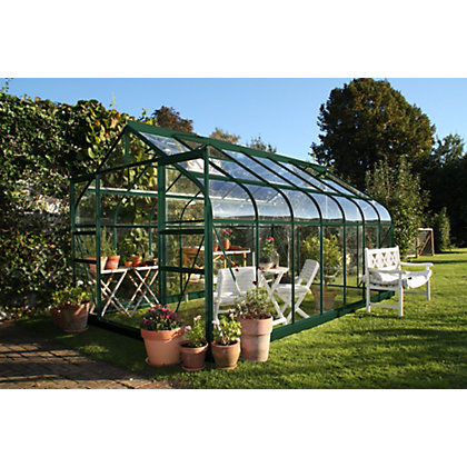 Image for Eden Aluminium Supreme Green Greenhouse with Horticultural Glass & Base - 14x8ft from StoreName