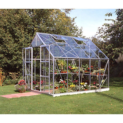 Image for Eden Aluminium Magnum Silver Greenhouse with Horticultural Glass & Base - 10x8ft from StoreName