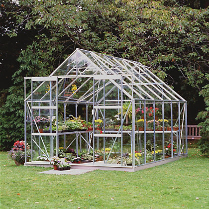 Image for Eden Aluminium Magnum Silver Greenhouse with Horticultural Glass & Base - 12x8ft from StoreName
