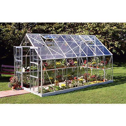 Image for Eden Aluminium Magnum Silver Greenhouse with Horticultural Glass & Base - 14x8ft from StoreName