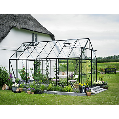 Image for Eden Aluminium Magnum Green Greenhouse with Horticultural Glass & Base - 14x8ft from StoreName