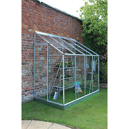 Image for Eden Aluminium Europa 48 Greenhouse with Horticultural Glass & Base - Silver from StoreName