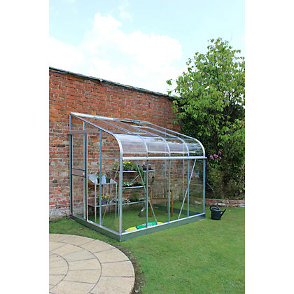 Image for Eden Silverline 68 Lean-To Greenhouse with Toughened Glass - Silver from StoreName