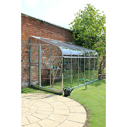 Image for Eden Silverline 612 Lean-To Greenhouse with Toughened Glass - Silver from StoreName