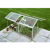 Eden Jumbo Silver Cold frame with Toughened Glass - 4x3ft