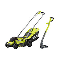 Ryobi ONE+ 18V Cordless Lawnmower and Grass Trimmer Twin Pack