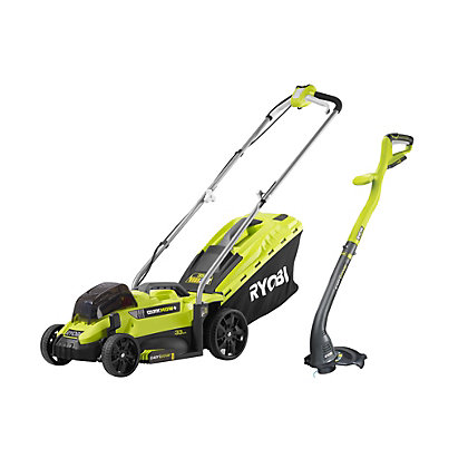 Image for Ryobi ONE+ 18V Cordless Lawnmower and Grass Trimmer Twin Pack from StoreName