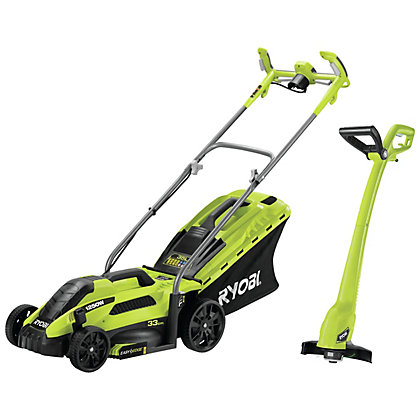 Image for Ryobi 1600W Lawn Mower and 300W Grass Trimmer Twin Pack from StoreName