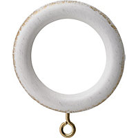 Vintage Effect 28mm White Curtain Rings 6 pack