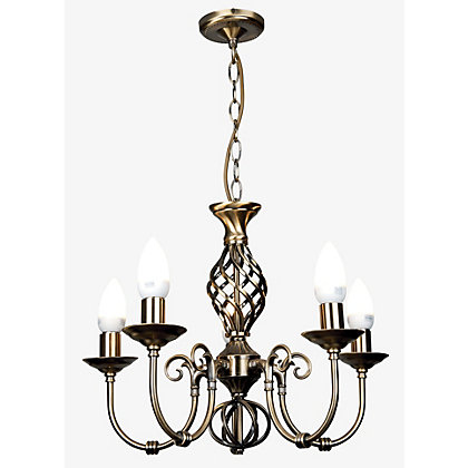 Image for Madagascar 5 Lamp Antique Brass Chandelier from StoreName