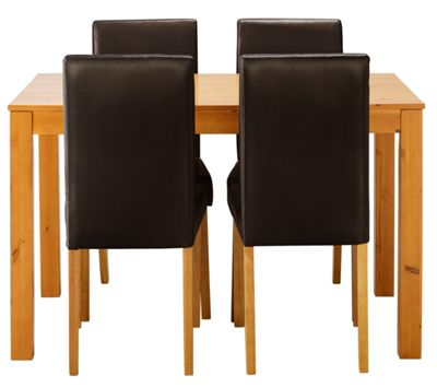 Newton Oak Stain Dining Table and 4 Chocolate Chairs.