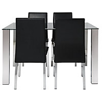 Hygena Fitz Glass Dining Table & 4 Black Chairs.