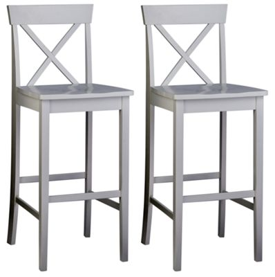 Image of Pair of Wooden Cross Back Bar Stools - White.