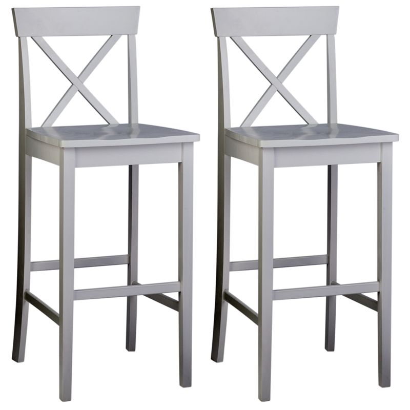 Pair of wooden cross back bar stools white