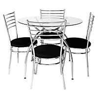 Lusi Glass Dining Table and 4 Black Chairs.