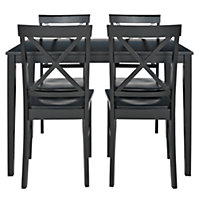 Jessie Dining Table and 4 Black Cross Back Chairs.