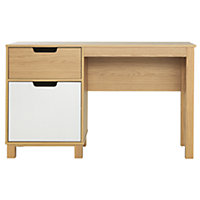 Single Pedestal Desk - Cream and Oak Effect.