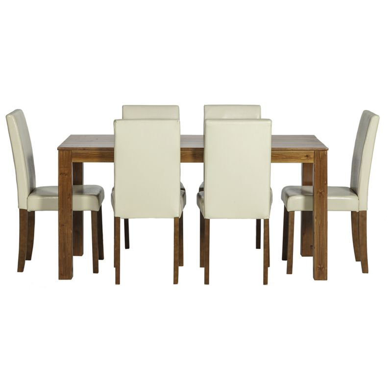 Newton walnut stain dining table 6 cream chairs for Cream dining table