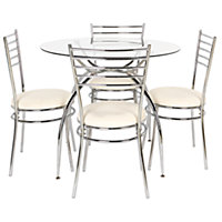 Lusi Glass Dining Table and 4 White Chairs.